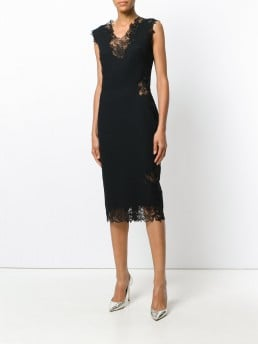 ERMANNO SCERVINO Sleeveless Lace Trim Black Dress
