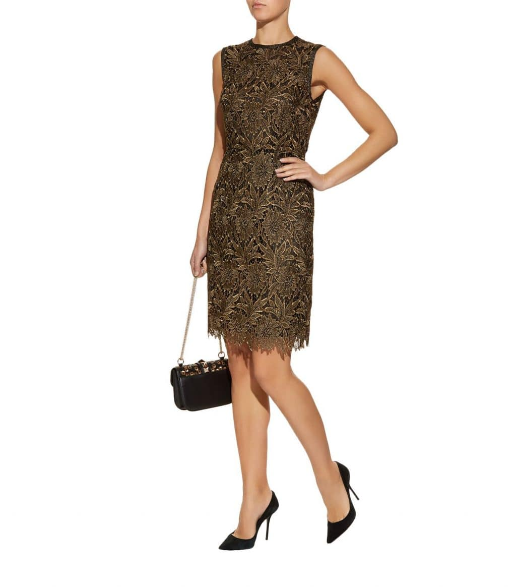 Escada Doniss Embroidered Gold Dress