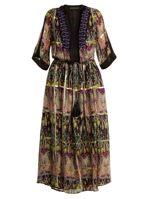 ETRO Embellished Silk Blend Chiffon Black Dress
