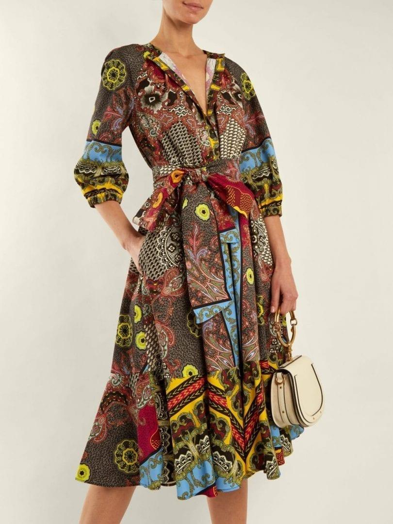 Etro Jungle Print Puff Sleeved Cotton Multicoloured Dress