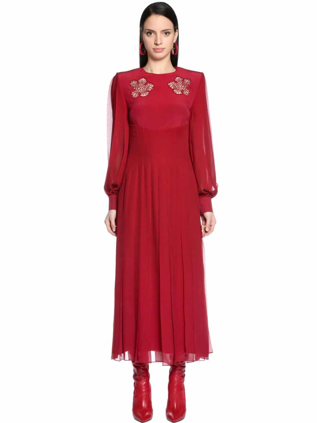 FENDI Embroidered Crepe & Silk Georgette Red Dress - We Select Dresses