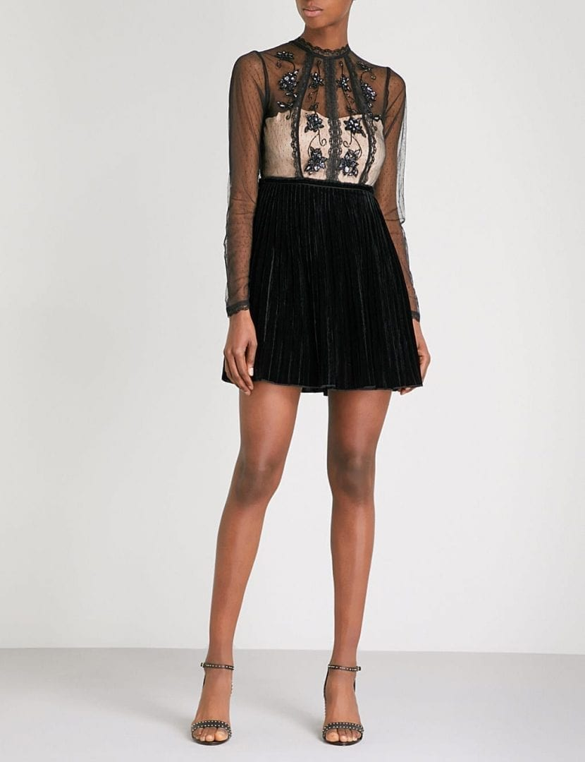 FREE PEOPLE Ariel Tulle And Velvet Mini Black Dress