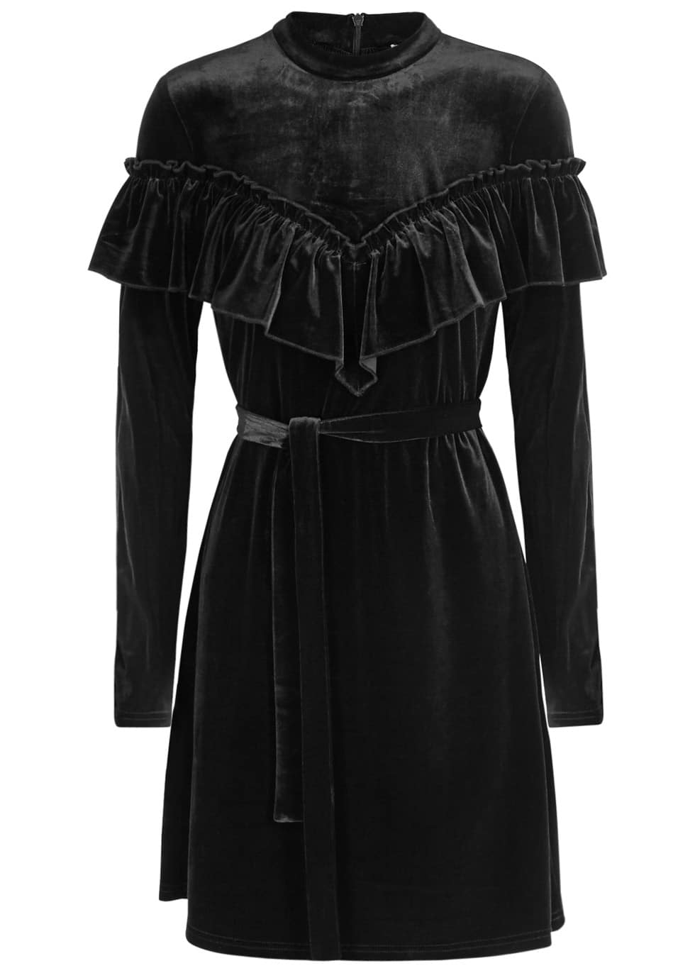 GESTUZ Locklyn Ruffle-Trimmed Velvet Black Dress
