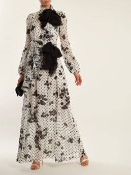 GIAMBATTISTA VALLI Cherry And Polka Dot Print Ruffled Silk White Gown