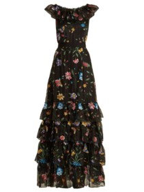 GOAT Fairytale Floral-embroidered Silk-organza Black Gown