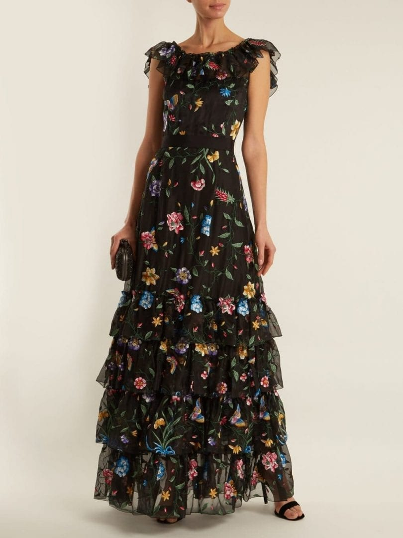GOAT Fairytale Floral-embroidered Silk-organza Black Gown - We ...