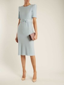 GOAT Fawn Embellished-Waist Wool-Crepe Powder-Blue Dress