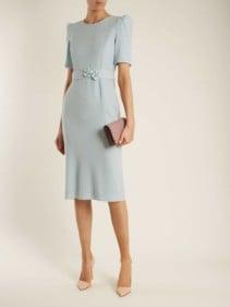 GOAT Fawn Embellished-Waist Wool-Crepe Powder-Blue Dress