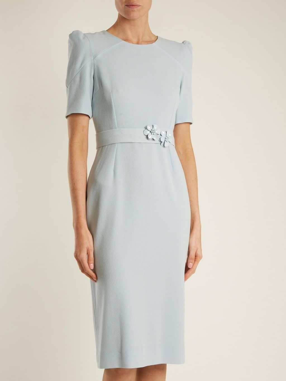 GOAT Fawn Embellished-Waist Wool-Crepe Powder-Blue Dress ...