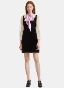 GUCCI Women's Lace-trimmed Pussybow Velvet Black Dress