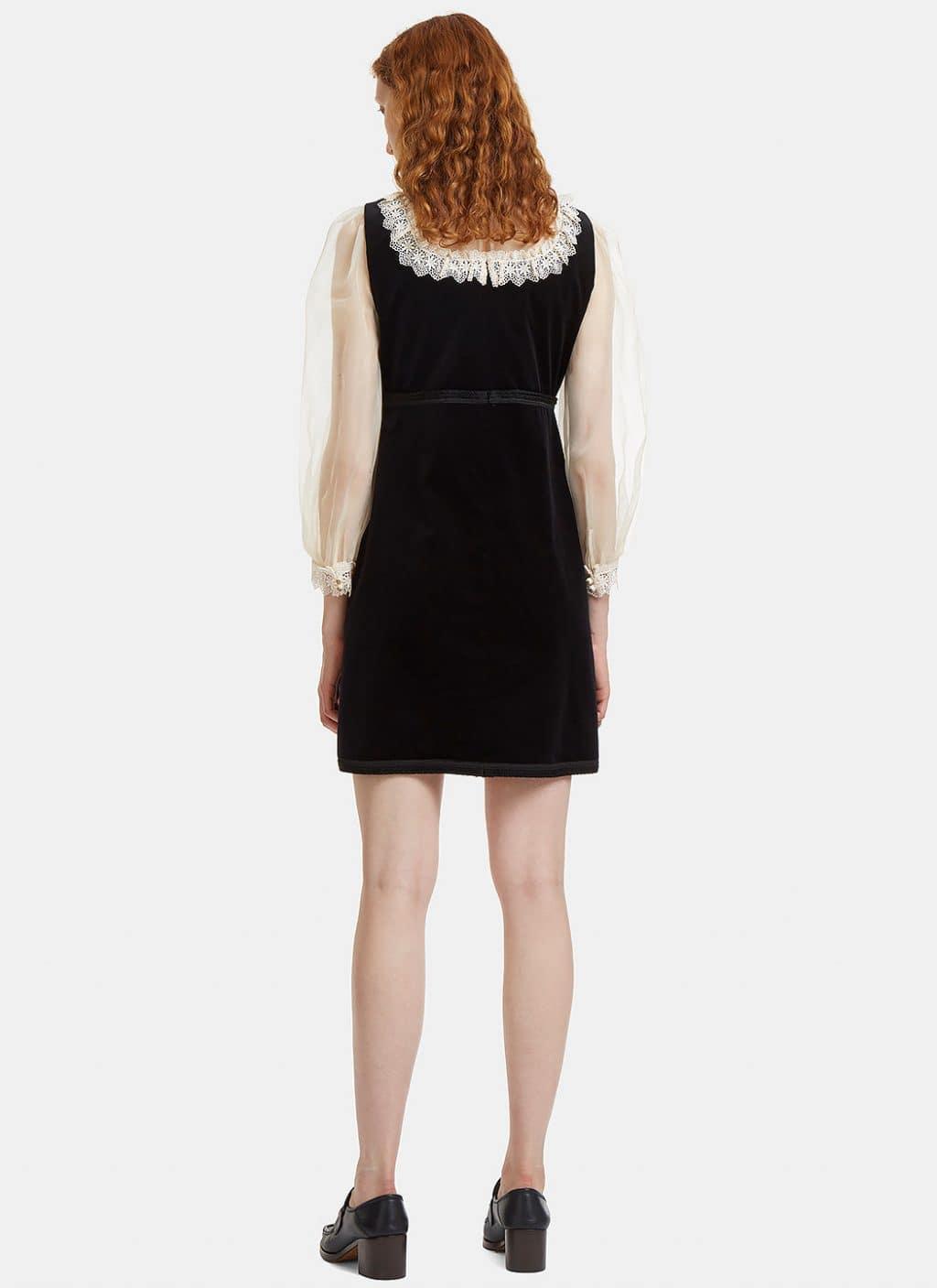 GUCCI Women's Lace-trimmed Pussybow Velvet Black Dress