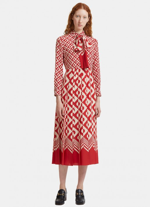 GUCCI Women's Long Geometric Print Pleated Crêpe De Chine Red / Ivory Dress