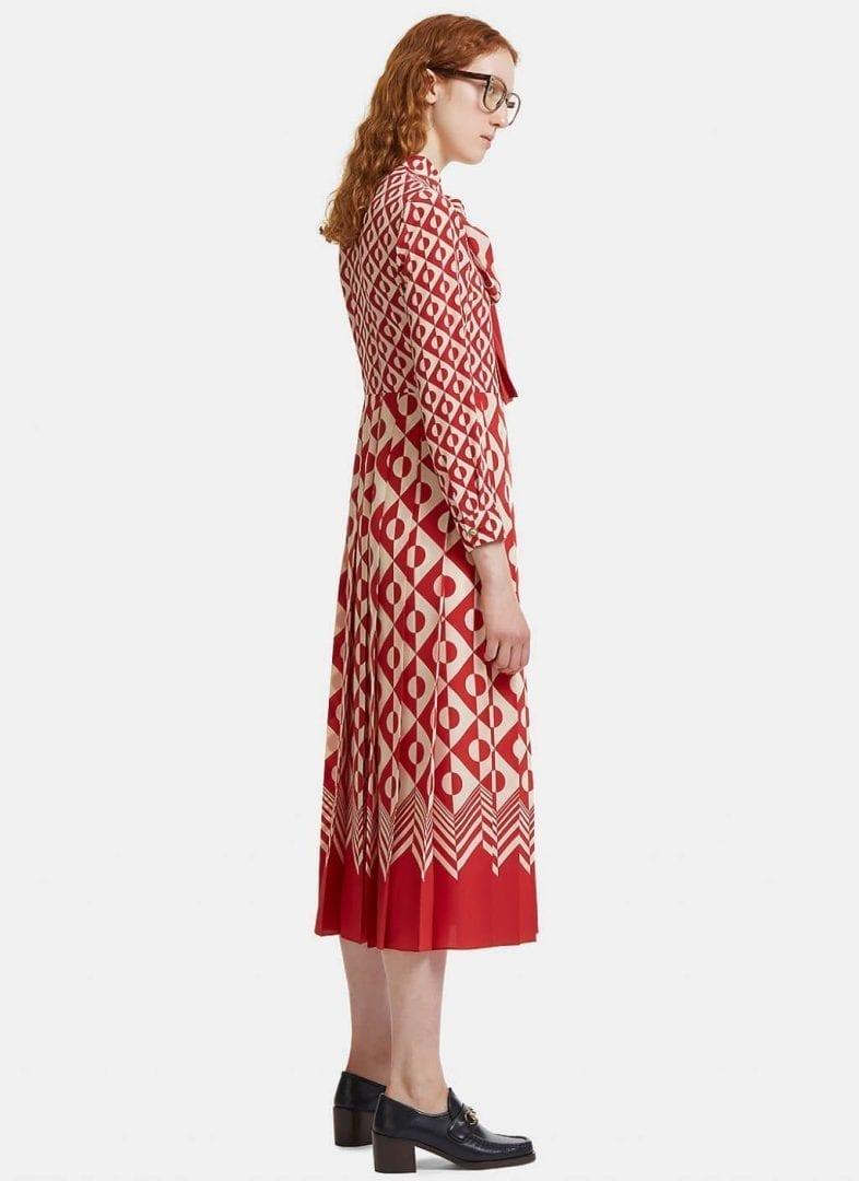 GUCCI Women's Long Geometric Print Pleated Crêpe De Chine Red / Ivory Dress