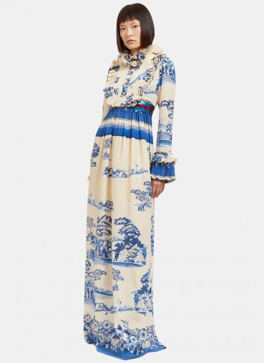 GUCCI Women's Long Porcelain Garden Printed Ruffled Ivory / Blue gown