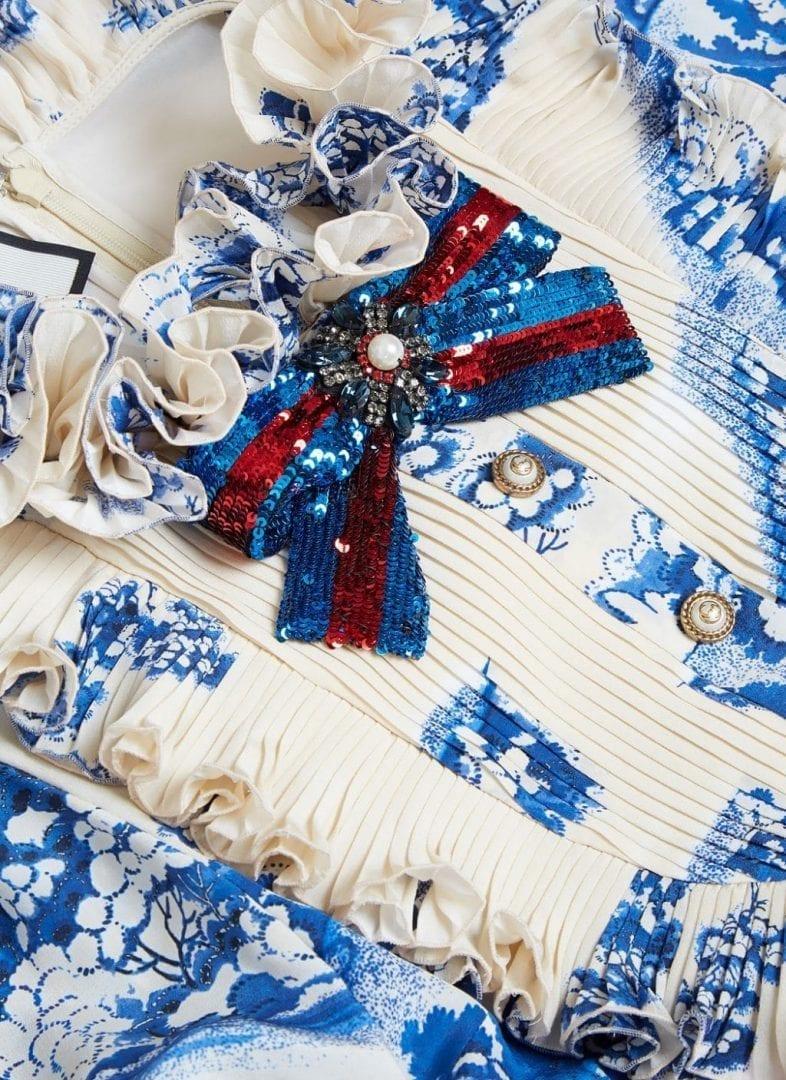 GUCCI Women's Long Porcelain Garden Printed Ruffled Ivory / Blue gown