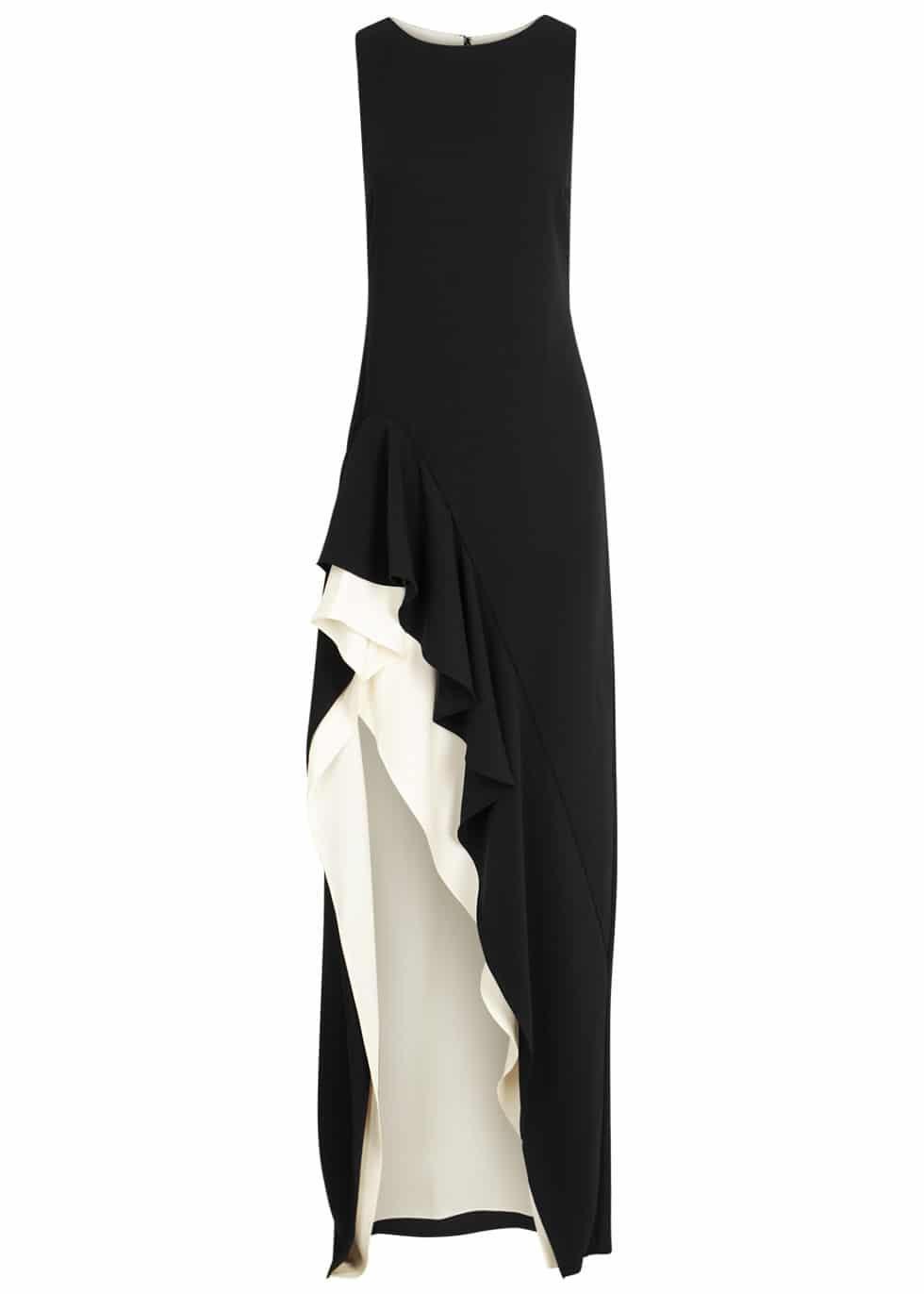 HALSTON HERITAGE Monochrome Ruffled Black Gown