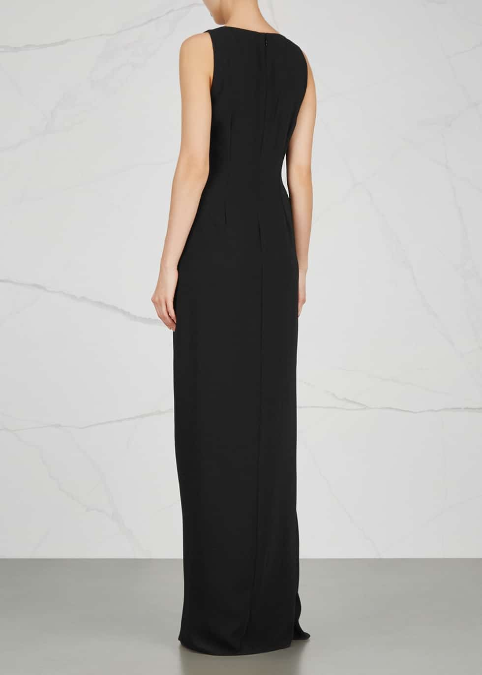 HALSTON HERITAGE Monochrome Ruffled Black Gown