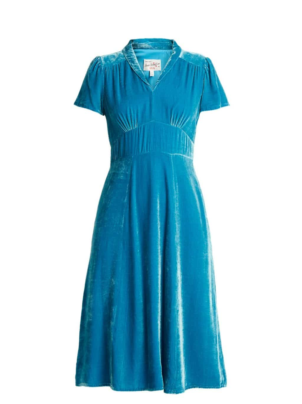 HVN Morgan Short-sleeved Velvet Lagoon-Blue Dress
