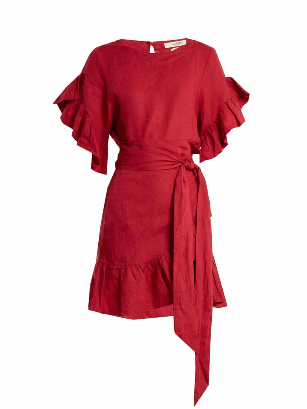 ISABEL MARANT ÉTOILE Delicia Ruffle Trimmed Linen Wrap Rose Red Dress