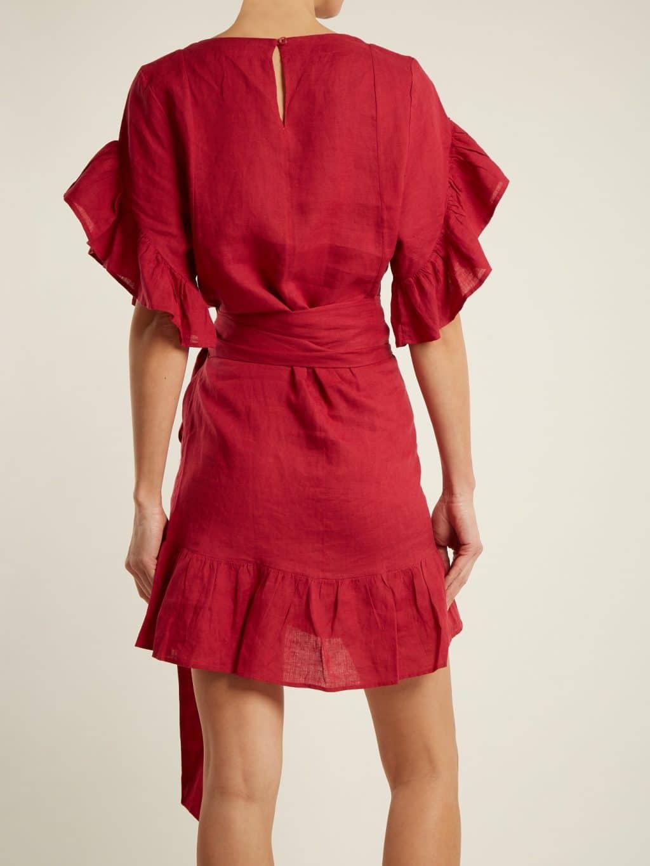 09c67c14e33 ISABEL MARANT ÉTOILE Delicia Ruffle Trimmed Linen Wrap Rose Red Dress