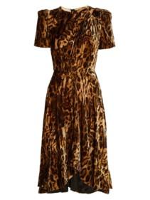 ISABEL MARANT Ulia Leopard Print Velvet Brown Dress
