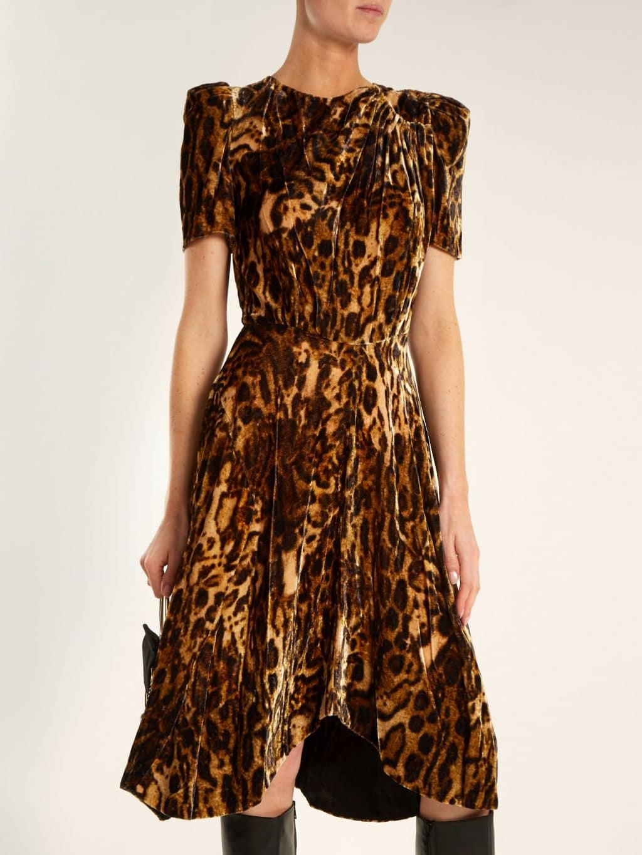 16455a5082a7 ISABEL MARANT Ulia Leopard Print Velvet Brown Dress - We Select Dresses