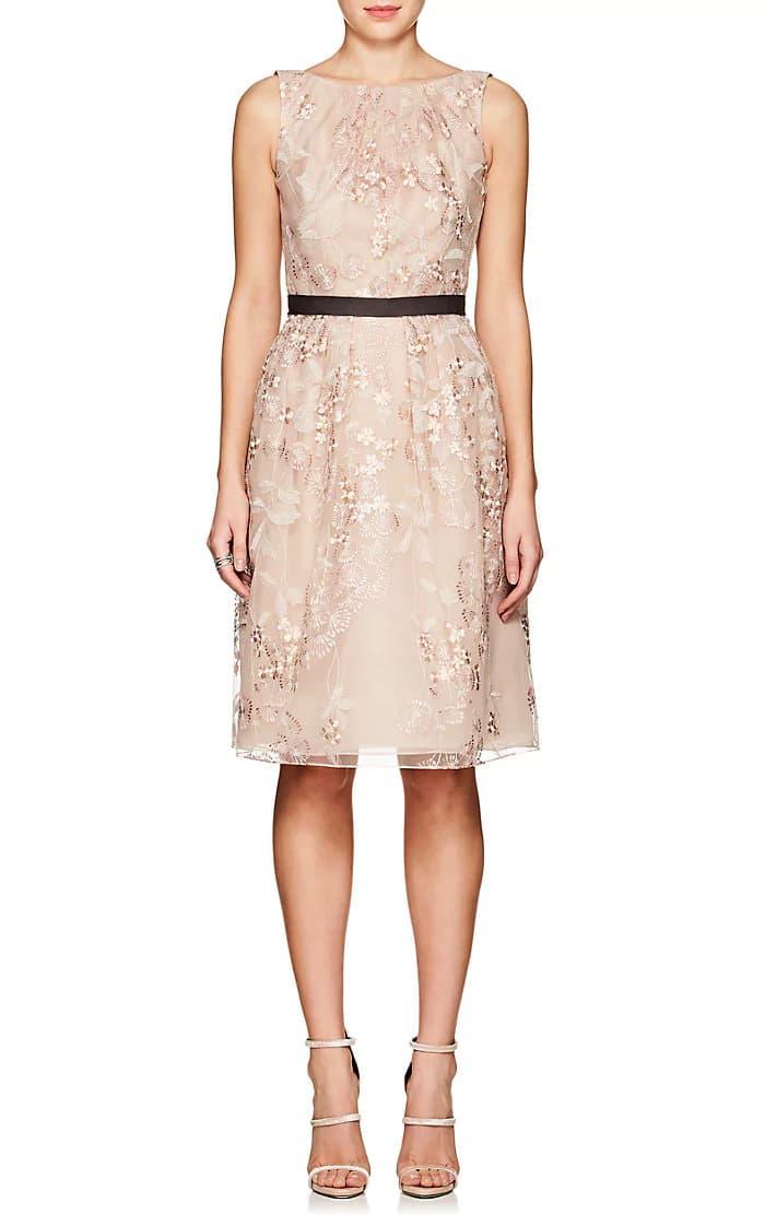 f73c67af4f6 J. MENDEL Floral Embroidered Tulle Belted Cocktail Light Pink Dress ...