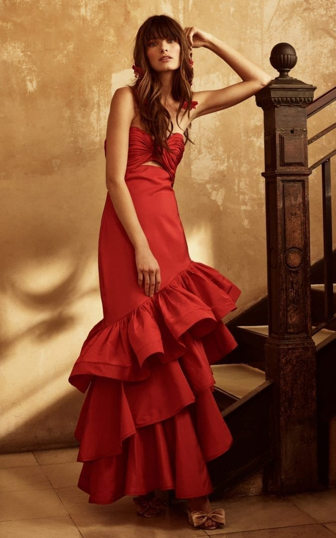 JOHANNA ORTIZ Spicy Margarita Silk Faille Chili Red Dress