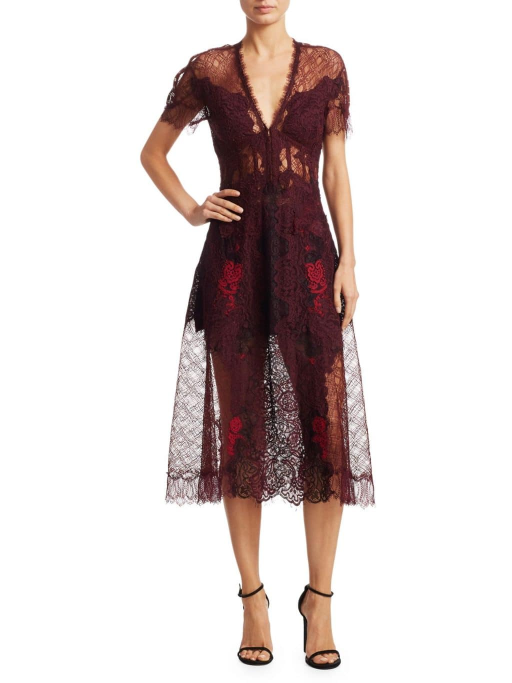JONATHAN SIMKHAI Lariat Lace Midi Crimson Dress
