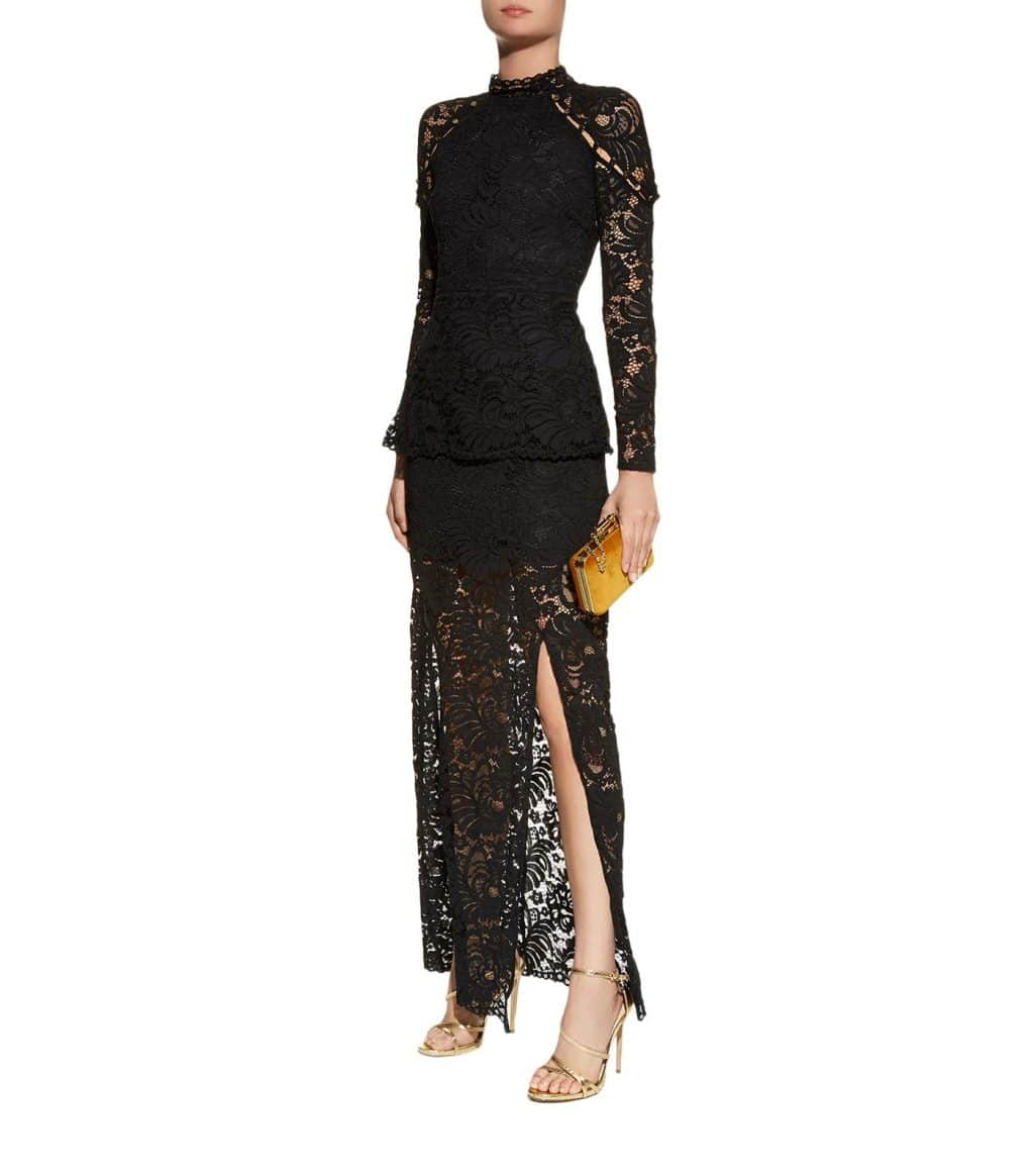 KEEPSAKE THE LABEL Star Crossed Long Sleeve Lace Black Gown