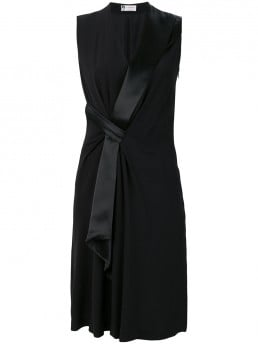 LANVIN Side Tie Midi Black Dress