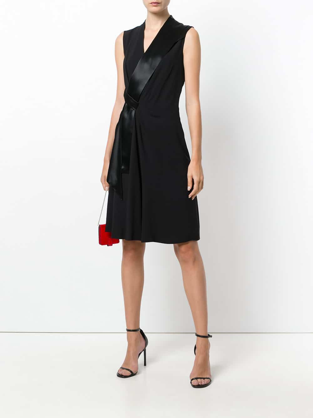 LANVIN Side Tie Midi Black Dress