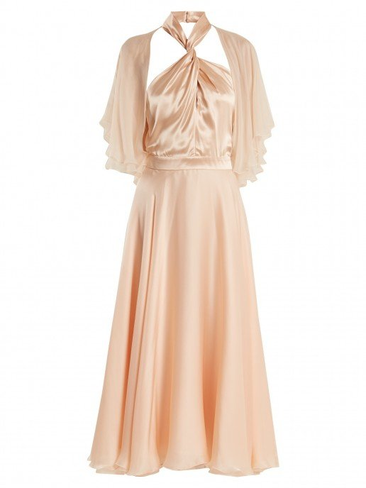 LANVIN Twisted Halterneck Silk Midi Nude Pink Dress