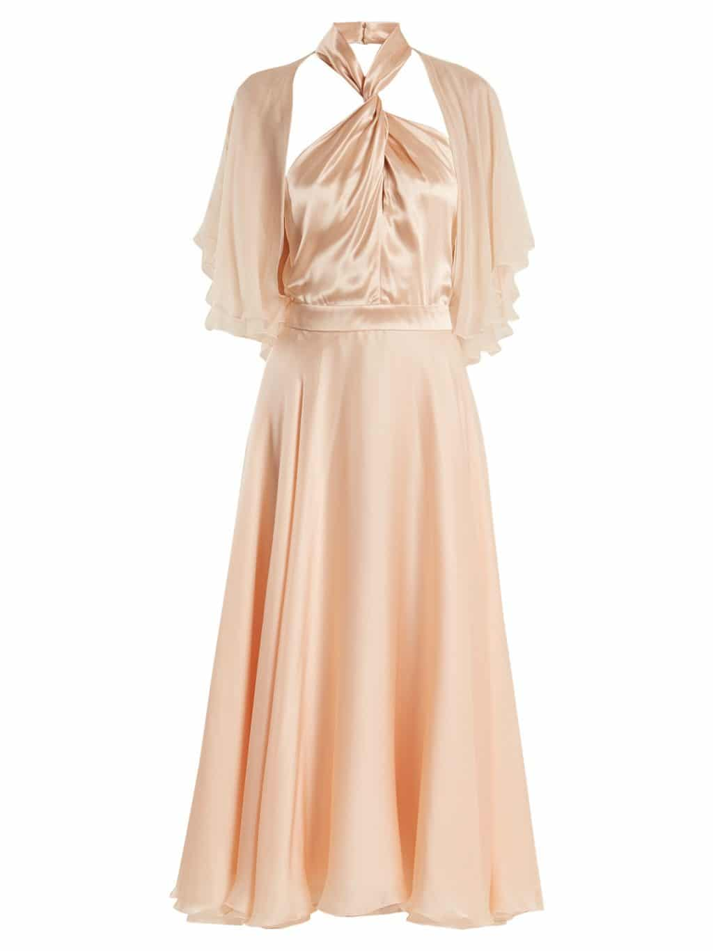 LANVIN Twisted Halterneck Silk Midi Nude Pink Dress