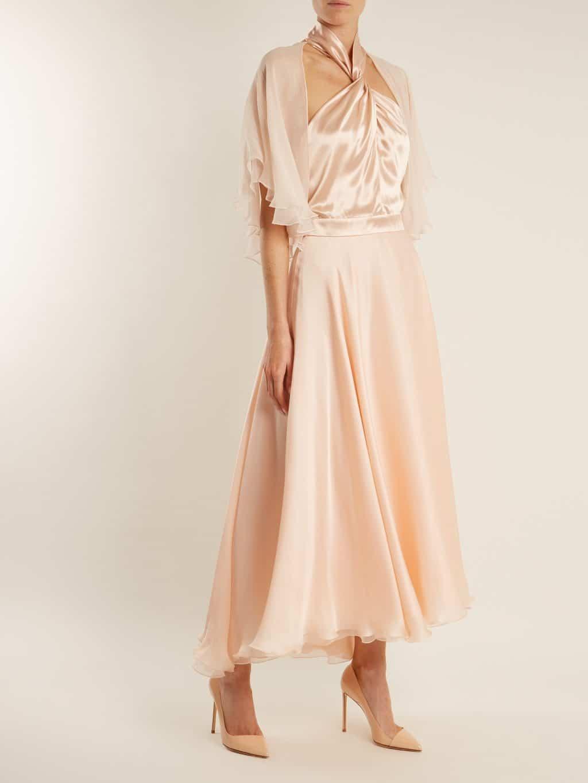 Lanvin Twisted Halterneck Silk Midi Pink Dress