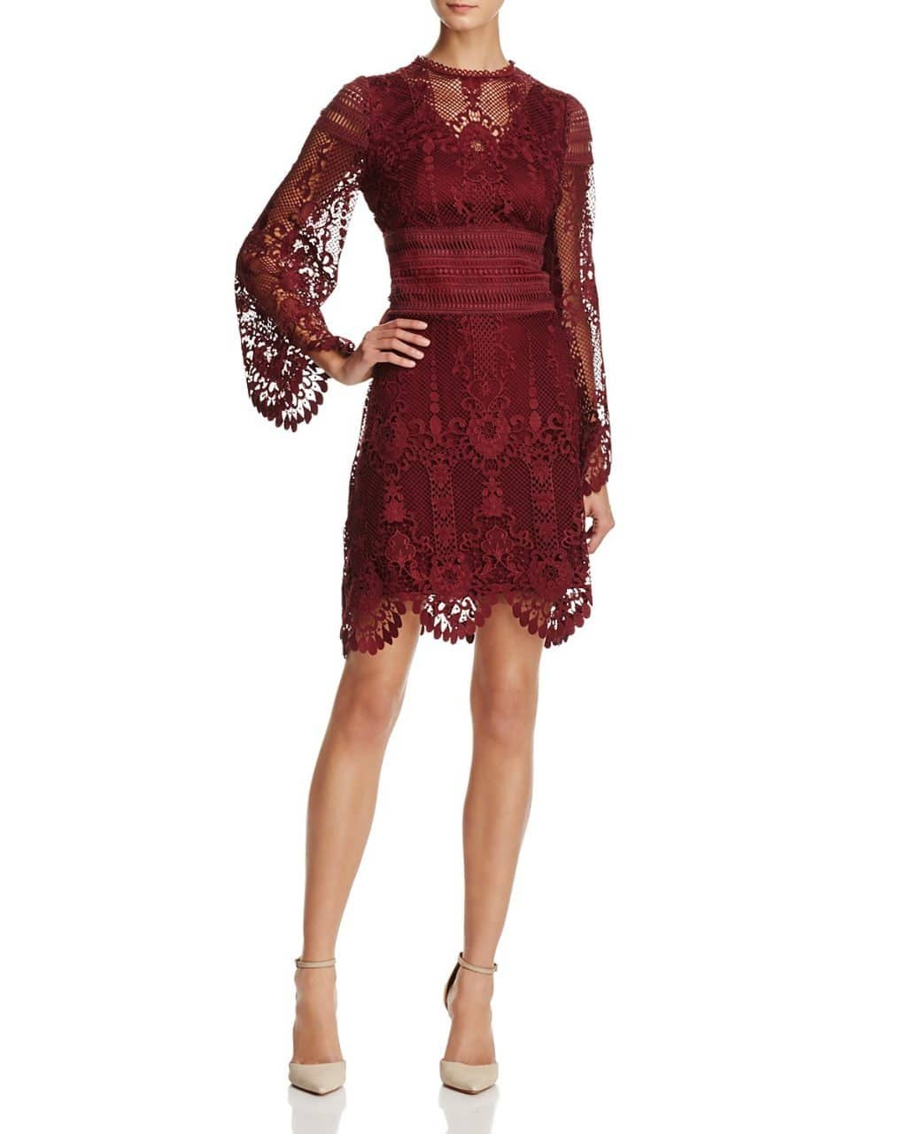 LAUNDRY BY SHELLI SEGAL Long-Sleeve Lace Deep Garnet Dress