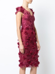 MARCHESA NOTTE Embroidered Lace Burgundy Dress