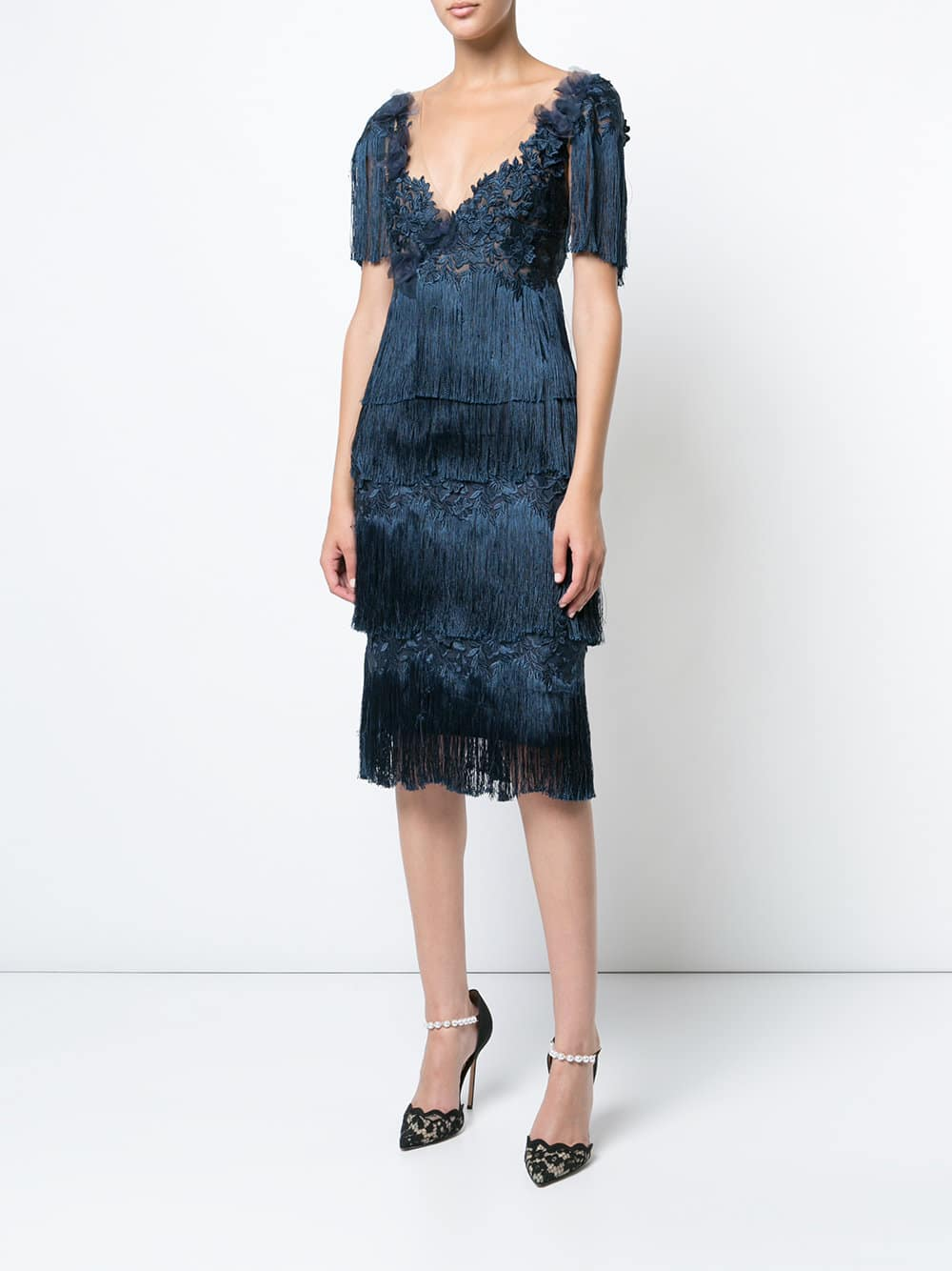 MARCHESA NOTTE Fringed Navy Dress