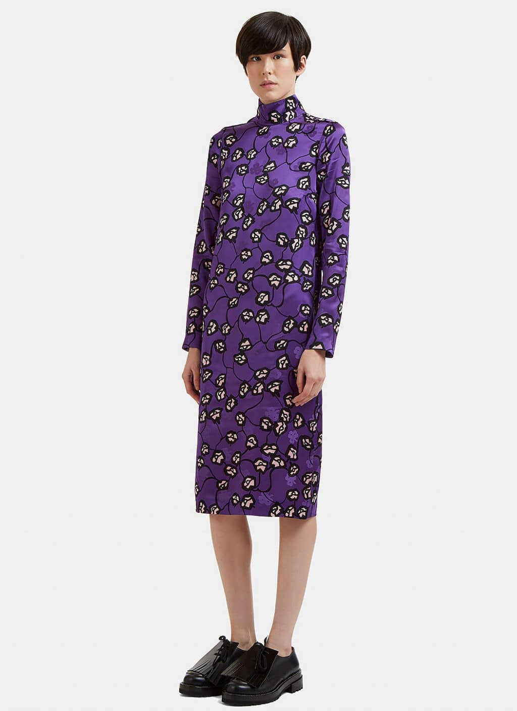 MARNI Floral Roll Neck Purple Dress