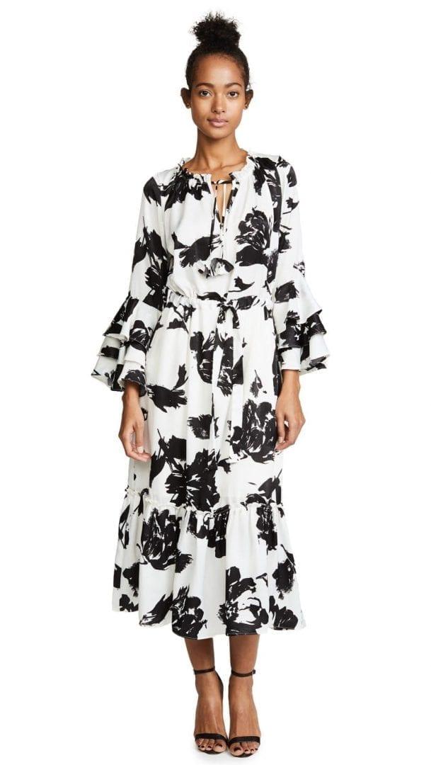 MISA Juliette White / Black Printed Dress