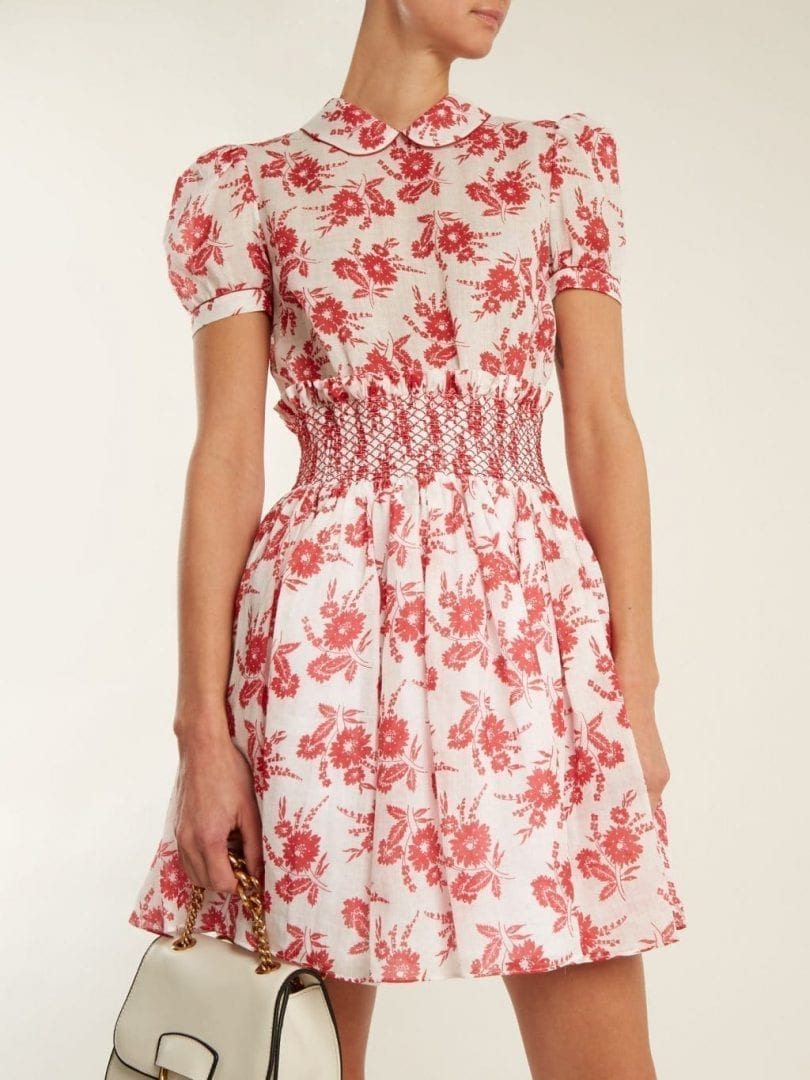 295b16abdaa MIU MIU Smocked Waist Mini White   Red Floral Printed Dress - We ...