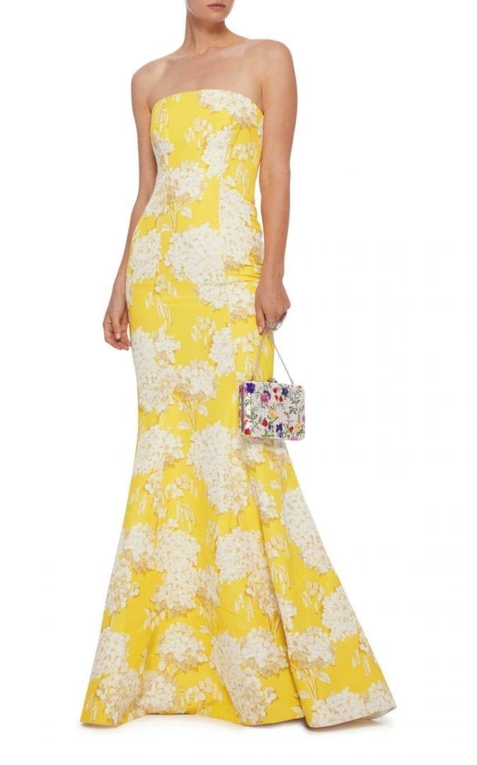 MONIQUE LHUILLIER Strapless Floral Yellow Gown - We Select Dresses