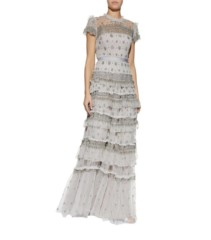 NEEDLE & THREAD Embellished Ruffle Tiered Grey Gown