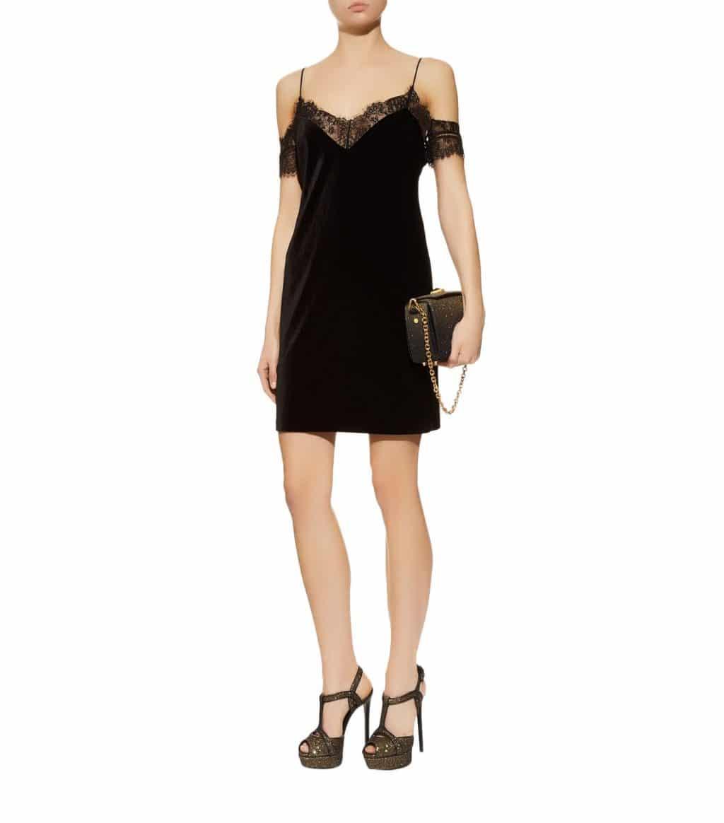 NICHOLAS Velvet Lace Mini Black Dress