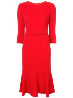 OSCAR DE LA RENTA Belted Fishtail Shift Red Dress