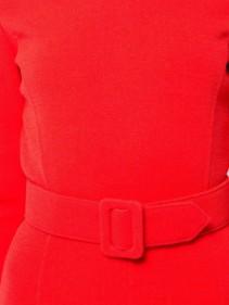 OSCAR DE LA RENTA Belted Fishtail Shift Red Dress