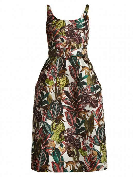 OSCAR DE LA RENTA Jungle-jacquard Scoop-neck Ivory And Tonal-Green Dress