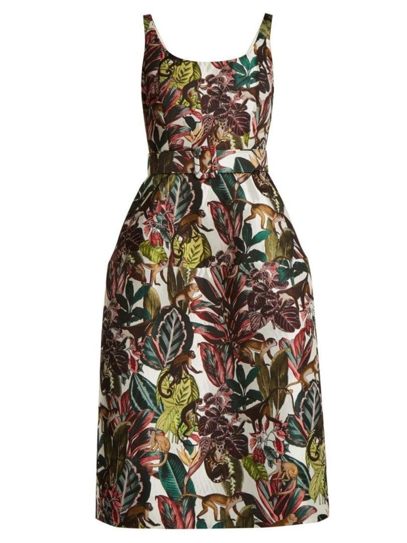 Oscar De La A Jungle Jacquard Scoop Neck Ivory And Tonal Green Dress