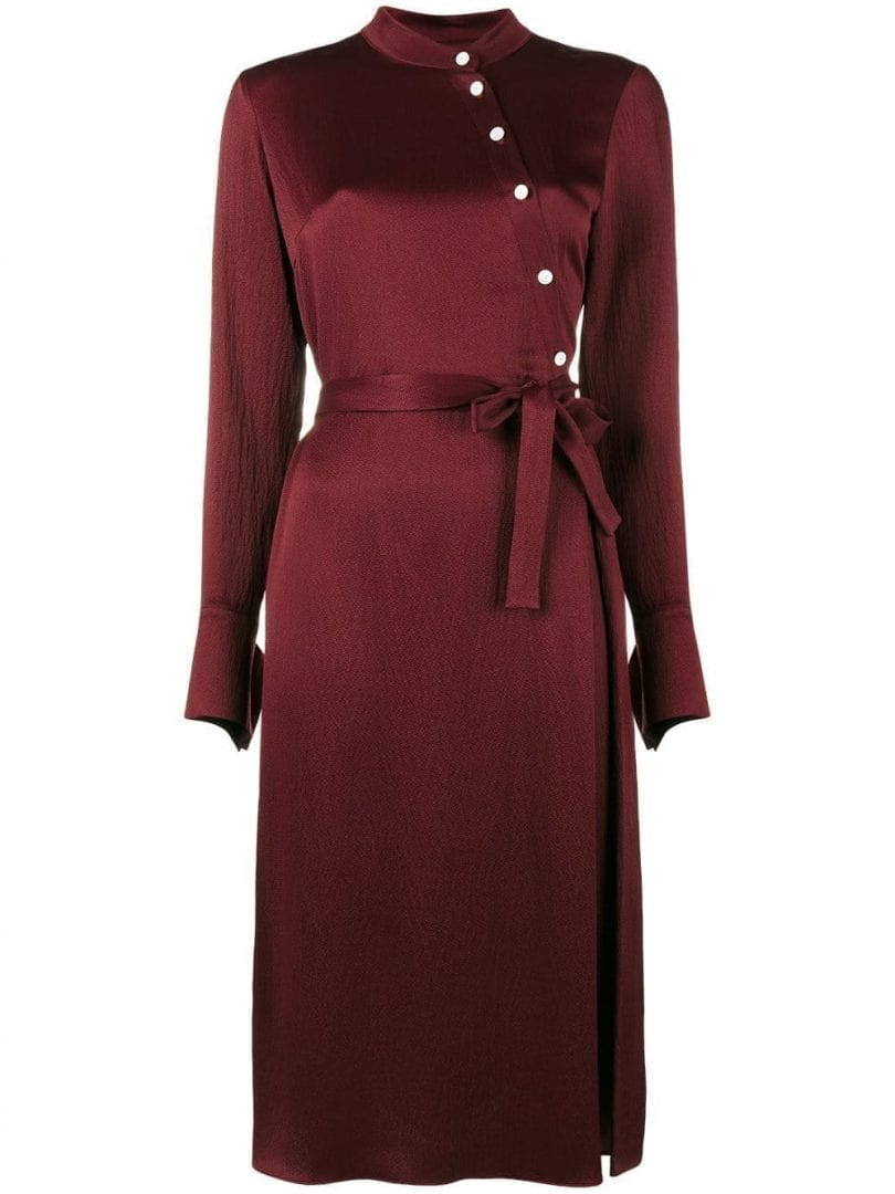 OSMAN Off Centre Button-up Burgundy Dress