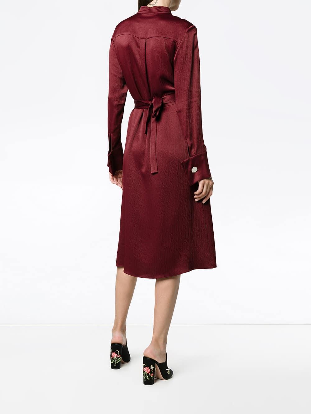 OSMAN Off Centre Button-up Burgundy Dress